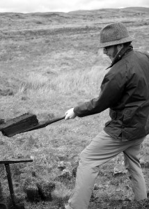 Pete, cutting peat