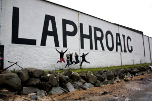 Enjoying the whisky at Laphroaig