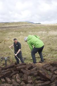 Jon cutting the peat