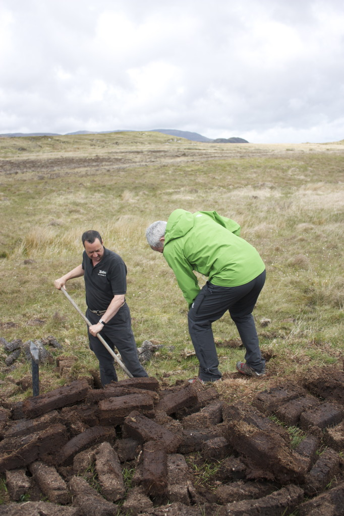Jon cutting the peat