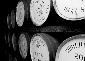 Inside one of Bruichladdich's warehouses
